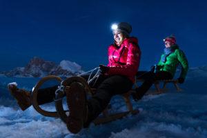 Slittino al chiaro di luna sull'Alpe di Siusi